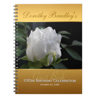 100th Birthday Celebration Peony Custom Guest Book