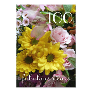 100th Birthday Celebration!-Pink and Yellow Floral Card