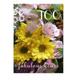 100th Birthday Celebration!-Pink and Yellow Floral 13 Cm X 18 Cm Invitation Card