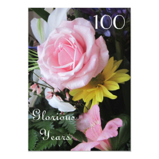 100th Birthday Celebration!-Pink Rose Bouquet 13 Cm X 18 Cm Invitation Card