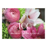 100th Birthday Celebration!-Pretty Pink Flowers Personalised Invite