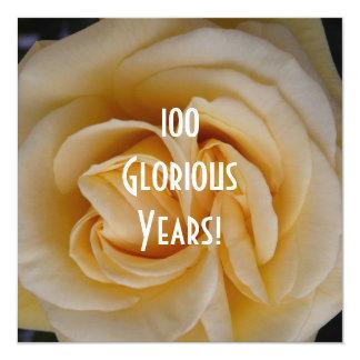 100th Birthday Celebration-Yellow Rose 13 Cm X 13 Cm Square Invitation Card