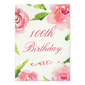 100th Birthday Chic Watercolor Roses Card