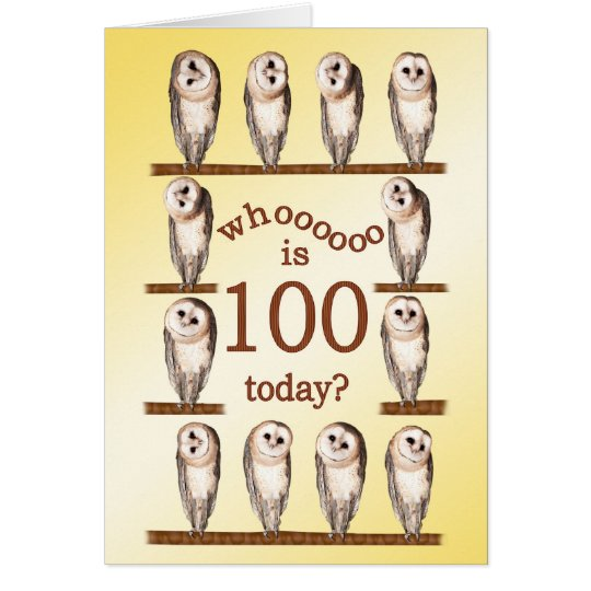 100th birthday, Curious owls card. Card