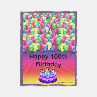 100th Birthday - Custom Lap Fleece Blanket