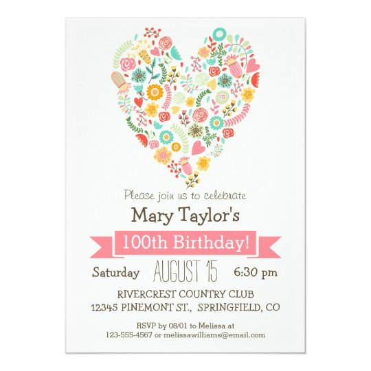 100th Birthday, Cute Floral Heart Birthday Party Card