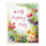 100th Birthday Dahlias Peonies Victorian Garden 11 Cm X 14 Cm Invitation Card