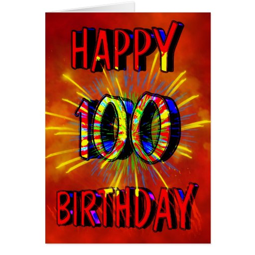 100th Birthday Fireworks Greeting Card