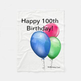 100th Birthday Fleece Blanket Card