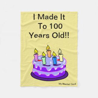 100th Birthday - Fleece Blanket - Card, Small