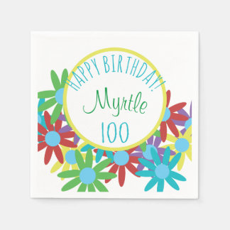 100th Birthday Floral Personalized Disposable Serviette