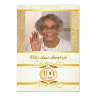100th Birthday - Gold Damask Photo Invitation
