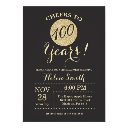 100th Birthday Invitation Black and Gold Glitter