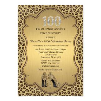 100th Birthday invitation,numbers diamonds,Cheetah 13 Cm X 18 Cm Invitation Card
