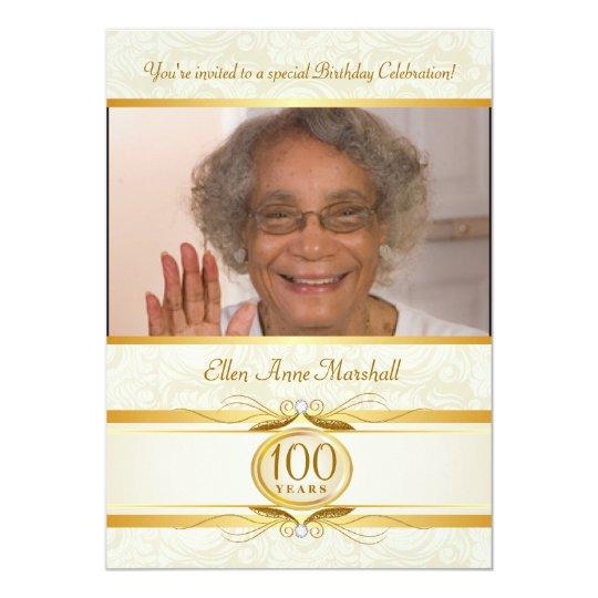 100th Birthday - Ivory Damask Photo Invitation