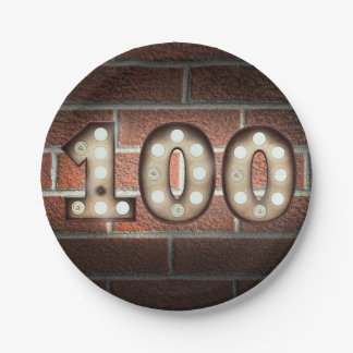 100th birthday marquee sign on brick wall paper plate