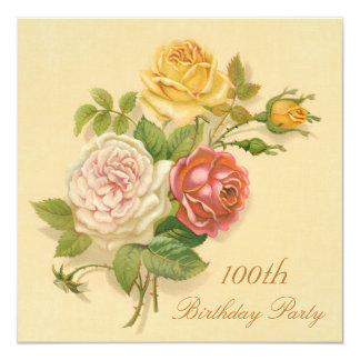 100th Birthday Party Chic Vintage Roses 13 Cm X 13 Cm Square Invitation Card