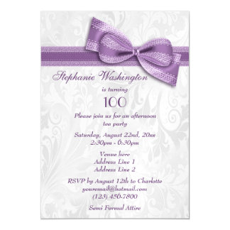 100th Birthday Party Damask and Faux Bow Magnetic Invitations