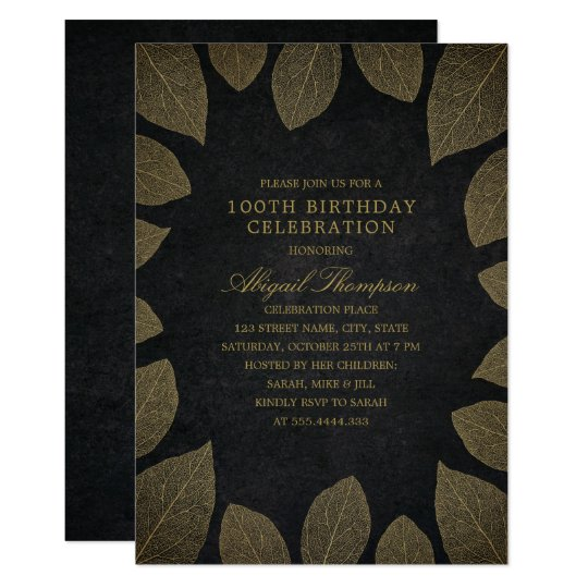 100th Birthday Party Elegant Black Gold Leaves Card