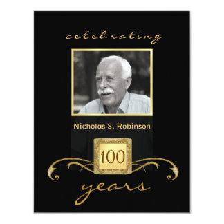 100th Birthday Party Elegant Photo Invitations Custom Announcement