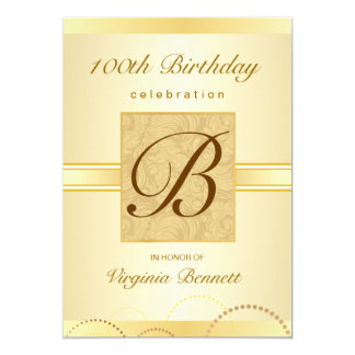 100th Birthday Party Gold Damask Monogram 13 Cm X 18 Cm Invitation Card