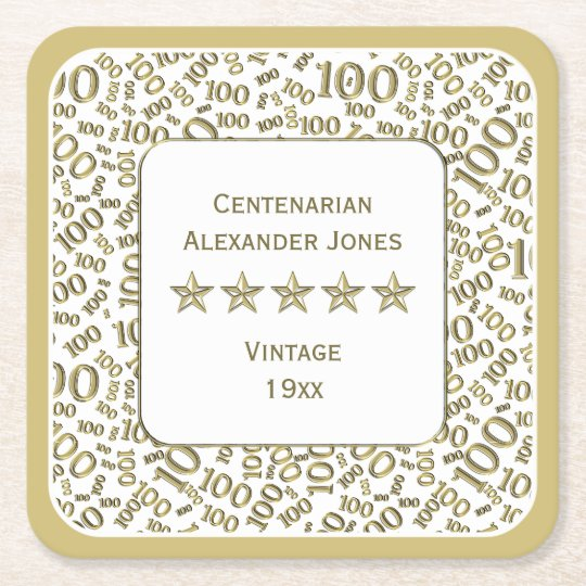100th Birthday Party Gold/White Centenarian Theme Square Paper