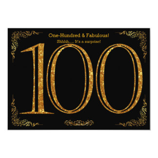 100th Birthday party,Great Gatsby,black gold glitt Card