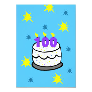 100th Birthday Party Invitation 100 Candle Cake
