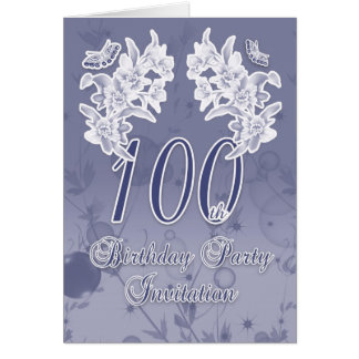 100th Birthday Party Invitation, Blue And White Fl Greeting Card