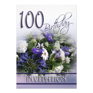 100th Birthday Party Invitation - Blue Bouquet