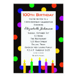 100th Birthday Party Invitation -- Candles & Dots