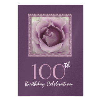 100th Birthday Party Invitation DREAMY PURPLE Rose Custom Announcements