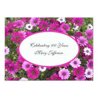 """100th Birthday Party invitation -- Gorgeous Floral 5"""" X 7"""" Invitation Card"""