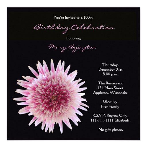 100th Birthday Party Invitation - Gorgeous Gerbera