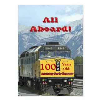 100th Birthday Party Invitation Railroad Train