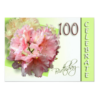 100th Birthday Party Invitation - Rhododendron