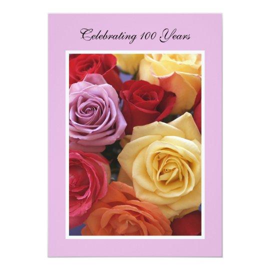100th Birthday Party Invitation Roses