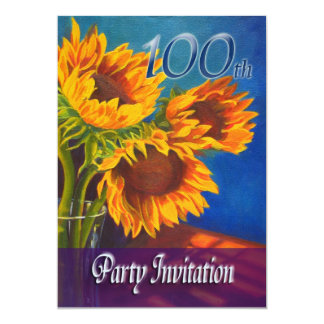 100th Birthday Party Invitation - Sunflowers