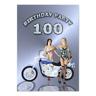 100th Birthday party Invitation with a motorbike