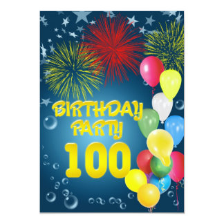 100th Birthday party Invitation with balloons