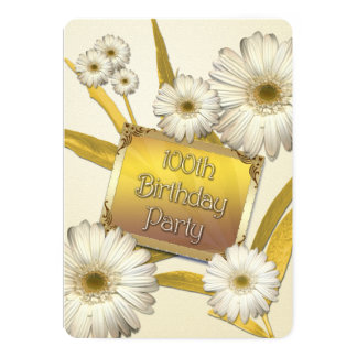 100th Birthday Party Invitation with daisies