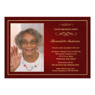 100th Birthday Party Invitations - Add your photo