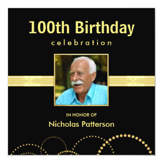 100th Birthday Party Invitations - Photo Optional