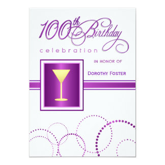 100th Birthday Party Invitations - with Monogram Invitation