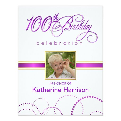 100th Birthday Party Invitations - with Monogram 11 Cm X 14 Cm Invitation Card