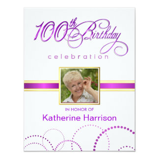 "100th Birthday Party Invitations - with Monogram 4.25"" X 5.5"" Invitation Card"