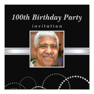 """100th Birthday Party - Masculine Photo Invitations 5.25"""" Square Invitation Card"""
