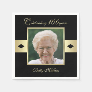 100th Birthday Party Photo on Black Paper Disposable Napkins
