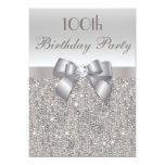 100th Birthday Party Silver Sequins, Bow & Diamond Personalised Invites