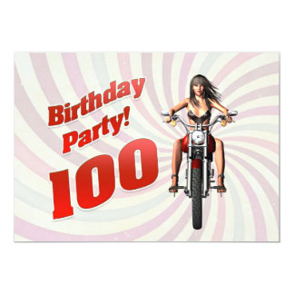 100th birthday party with a girl on a motorbike 13 cm x 18 cm invitation card